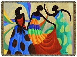 Dancer's In Black Skin Tapestry Throw