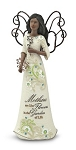 Ebony Mother Perfect Paislely Angel Figurine with Flowers