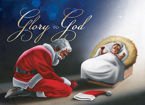glory to god manger santa and baby jesus christmas card - Jesus Santa