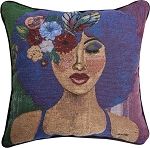 Blue Ivory Tapestry Pillow
