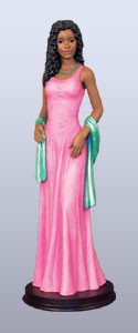 Glamour Gal African American Figurine - Pink and Green