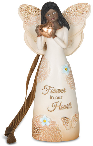 Forever In Our Hearts Light Your Way Memorial Black Angel Ornament