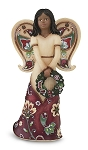 Happy Holidays Ebony Angel Figurine