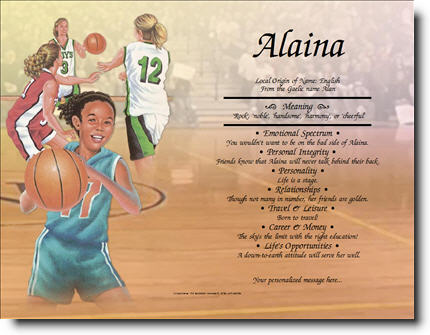 Girl's Basketball-First Name Origin Print