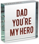 Dad My Hero Glass Plaque
