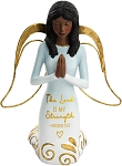 Kneeling  and Praying Black Angel Figurine