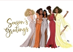 Seasons Greetings African American Girls Christmas Cards