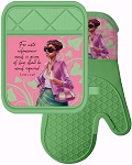 Pink and Green Oven Mitt and Pot Holder Set