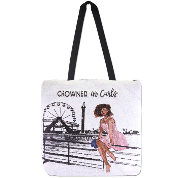 Crowned in Curls Tapestry Tote Bag