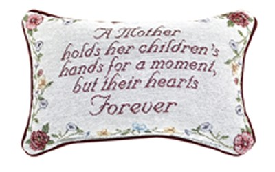 A Mother Holds Her Children  Message Pillow