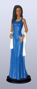 Glamour Gal African American Figurine - Blue and White