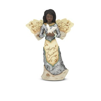 Merry Christmas Elements African Amercan Angel Figurine